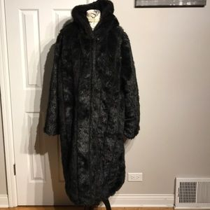 Faux Fur Coat Evening Jacket puffy Hoodie Party 2X